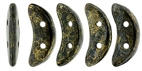 CZCRESC-BT2398 : CzechMates Crescent : Jet - Bronze Picasso - 4 Grams - Approx 30 Beads