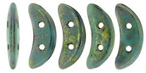 CZCRESC-BT6313 : CzechMates Crescent : Turquoise - Bronze Picasso - 4 Grams - Approx 30 Beads