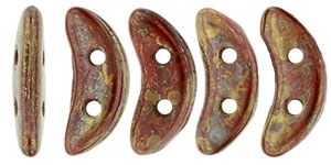 CZCRESC-BT9320 : CzechMates Crescent : Opaque Red - Bronze Picasso - 4 Grams - Approx 30 Beads