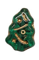 CZCTB-5014GL - Czech Emerald Christmas Tree Beads - 17x7mm - with Gold Inlay - Single Bead