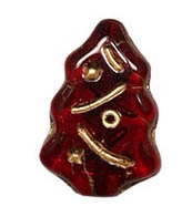 CZCTB-9009GL - Czech Ruby Christmas Tree Beads - 17x7mm - with Gold Inlay - Single Bead