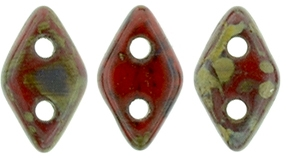 "CzechMates Diamond 4x6mm Tube 2.5"" : Opaque Red - Picasso - Approx 8 Grams"