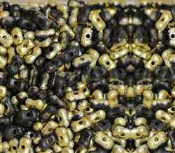 CZFAR-23980-26441 - Czech Farfalle Beads Black/Gold Etch - 5 Grams