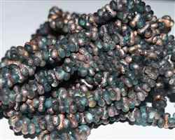 CZFAR-60010-27101 - Czech Farfalle Beads - Aqua Fire Etched - 5 Grams