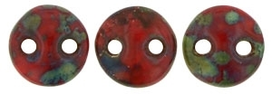 CzechMates Lentil 6mm : CZL-T9320 - Opaque Red - Picasso - 25 Beads