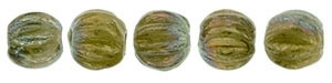 CZM3-15776 - Melon Round 3mm : Oxidized Bronze Chartreuse - 25 Count