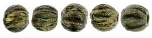 CZM3-BT2398 - Melon Round 3mm : Jet - Bronze Picasso - 25 Count