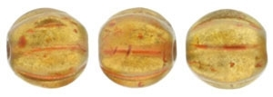 CZM5-29253 - Melon Round 5mm : Halo - Sandalwood - 25 Beads