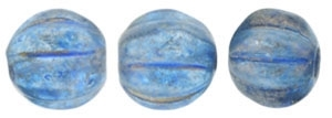 CZM5-29266 - Melon Round 5mm : Halo - Azurite - 25 Beads