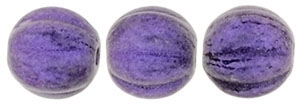 CZM5-79021 - Melon Round 5mm : Metallic Suede - Purple - 25 Beads