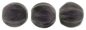 CZM5-79083 - Melon Round 5mm : Metallic Suede - Dark Plum - 25 Beads