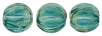 CZM5-LR6023 - Melon Round 5mm : Luster Iris - Atlantis Blue - 25 Beads