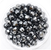 Machine Cut 6mm Round Crystals : CZRC6-14400 - Hematite - 4 count