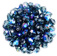 Machine Cut 6mm Round Crystals : CZRC6-X3034 - Montana Blue AB - 4 count