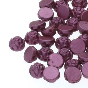 CZRCAB-25031 - Czech Rosetta 2-hole Cabochon 6mm - Pastel Burgundy - 12 Count