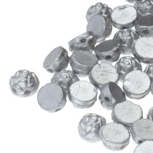 CZRCAB-29605 - Czech Rosetta 2-hole Cabochon 6mm - Silver - 12 Count