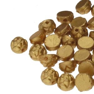 CZRCAB-29685 - Czech Rosetta 2-hole Cabochon 6mm - Gold - 12 Count