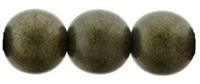 Round Beads 10mm: CZRD10-79082 - Metallic Suede - Dark Green - 12 pieces