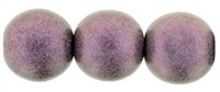 Round Beads 10mm: CZRD10-79086 - Metallic Suede - Pink - 12 pieces