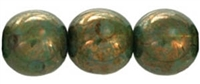 Round Beads 10mm: CZRD10-BT61100 - Milky Peridot - Bronze Picasso - 12 pieces