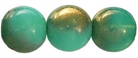 Round Beads 10mm: CZRD10-G51200- Milky Peridot - Gold - 12 pieces