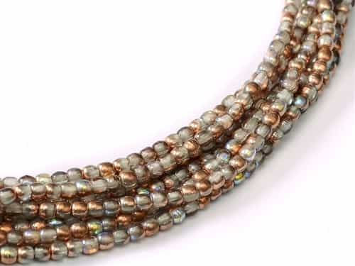 Czech Round Beads 2mm: CZRD2-00030-98533 - Crystal Copper Rainbow - 25 Count