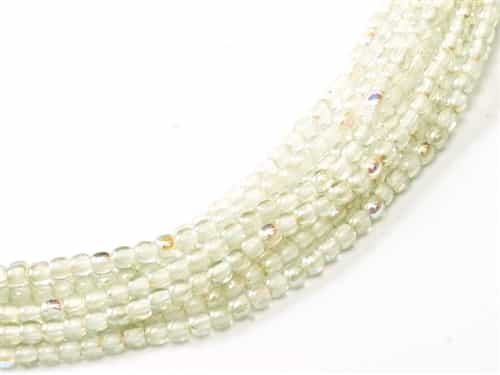 Czech Round Beads 2mm: CZRD2-00030-98539 - Crystal Green Rainbow - 25 Count