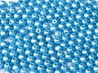 Czech Round Beads 2mm: CZRD2-02010-25020 -  Alabaster Pastel Turquoise - 25 Count