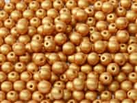 Czech Round Beads 2mm: CZRD2-02010-29421 -  Alabaster Metallic Gold - 25 Count
