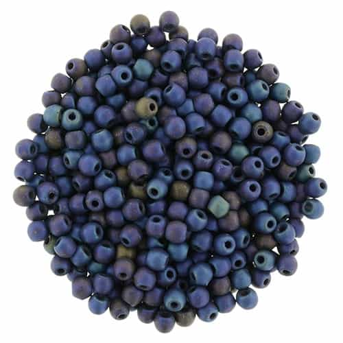 Czech Round Beads 2mm: CZRD2-21135 - Matte - Iris - Blue - 25 Count