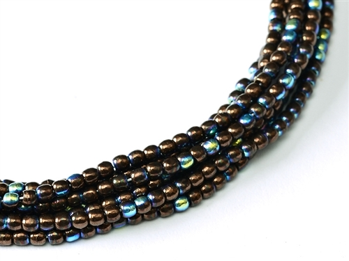 Czech Round Beads 2mm: CZRD2-23980-14415-28701  - Jet - Bronze AB - 25 Count