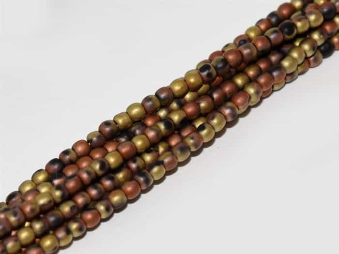 Czech Round Beads 2mm: CZRD2-23980-98572 - Jet California Gold Rush Matted - 25 Count