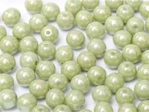 Round Beads 3mm: CZRD3-03000-14457  - Chalk White Mint Luster - 25 pieces
