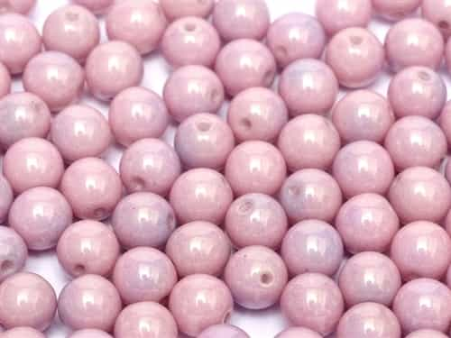 Round Beads 3mm: CZRD3-03000-14494 - Chalk White Lila Luster - 25 pieces