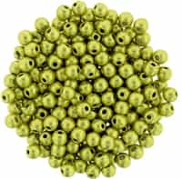 Round Beads 3mm: CZRD3-77058 - ColorTrends: Saturated Metallic Primrose Yellow - 25 pieces