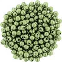 Round Beads 3mm: CZRD3- 77064 - ColorTrends: Saturated Metallic Greenery - 25 pieces