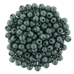 Round Beads 3mm: CZRD3-79051 - Metallic Suede - Light Green - 25 pieces