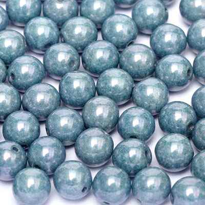 Round Beads 3mm: CZRD3-P14464 - Chalk White Baby Blue Luster - 25 pieces