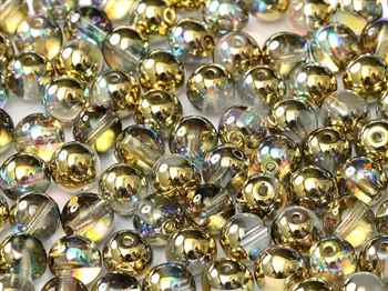 Round Beads 4mm: CZRD4-00030-98536 - Crystal Golden Rainbow - 25 pieces