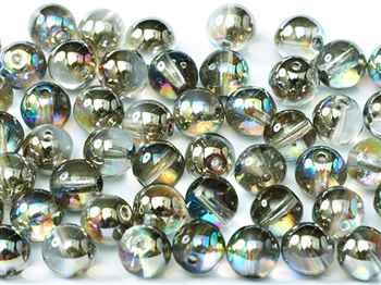 Round Beads 4mm: CZRD4-00030-98537 - Crystal Graphite Rainbow - 25 pieces