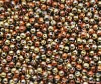 Round Beads 4mm: CZRD4-23980-98542 - Jet California Gold Rush - 25 pieces