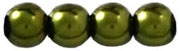 Round Beads 4mm: CZRD4-70983 - Metallic Dark Olive - 25 Pieces