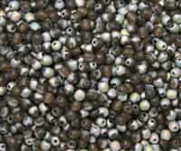Round Beads 4mm: CZRD4-MV1024 - Smoky Topaz/Vitrail Matte AB - 25 pieces