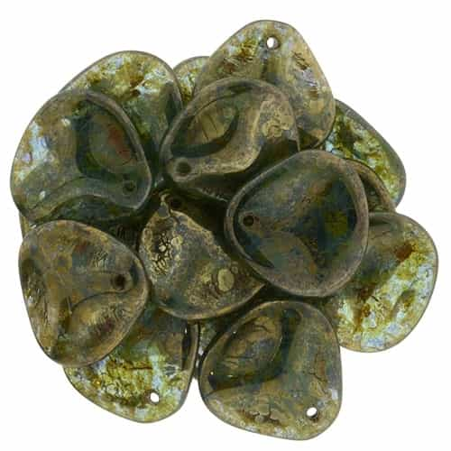 Czech Rose Petals 14/13mm�- CZRP-BT6002 - Aquamarine - Bronze Picasso - 12 Petals