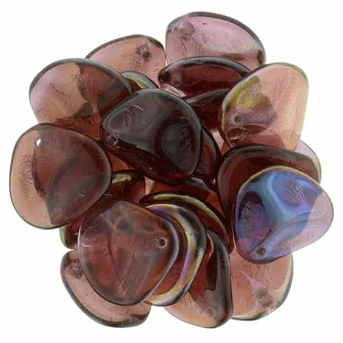 Czech Rose Petals 14/13mm- CZRP-W9008 - Twilight - Siam Ruby - 12 Petals