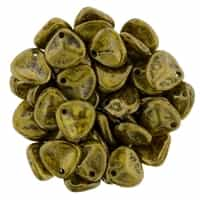 Rose Petals 8/7mm - CZRP8-BT8312 - Opaque Yellow - Bronze Picasso - 25 Petals