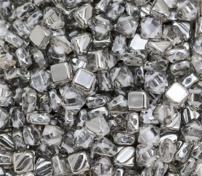 Czech Silky 2-Hole Beads 6x6mm - CZS-00030-27401 - Crystal Chrome - 25 count