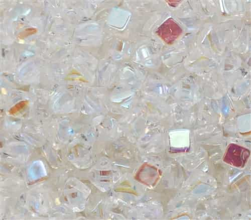 Czech Silky 2-Hole Beads 6x6mm - CZS-00030-28701 - Crystal AB - 25 count