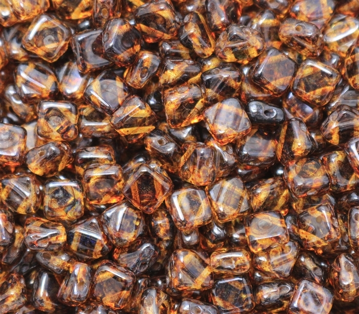 Czech Silky 2-Hole Beads 6x6mm - CZS-00030-86805 - Crystal Dark Tarvertin - 25 count
