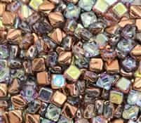Czech Silky 2-Hole Beads 6x6mm - CZS-00030-98533 - Crystal Copper Rainbow - 25 count